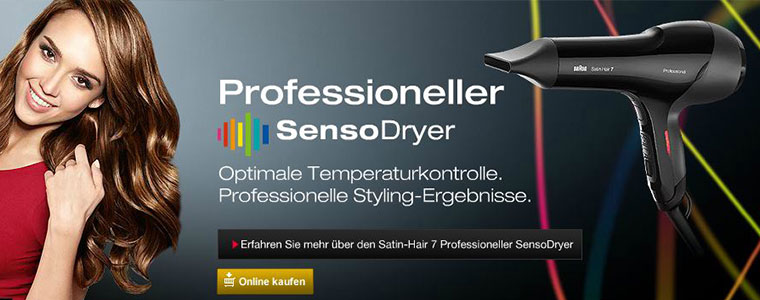 Braun Professioneller SensoDryer: Optimale Temperaturkontrolle und professionelle Styling-Ergebnisse